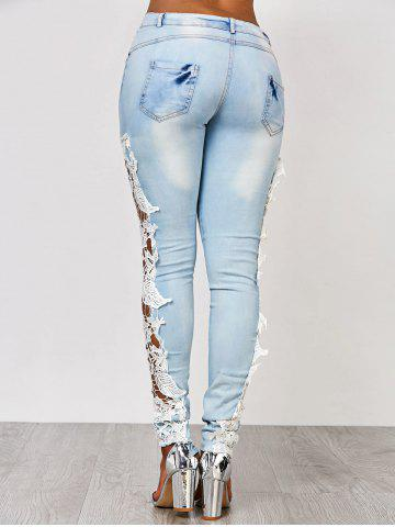 Online Lace Insert Washed Skinny Jeans - L AZURE Mobile