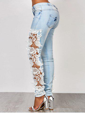 Outfit Lace Insert Washed Skinny Jeans - L AZURE Mobile