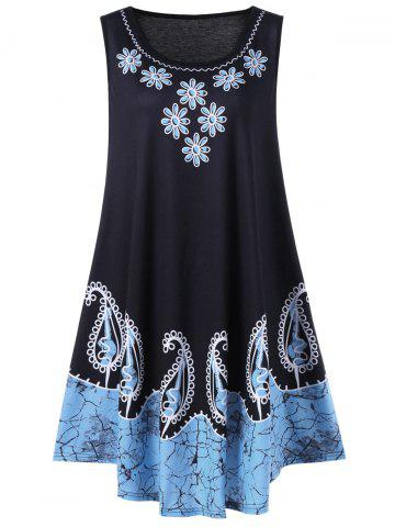 Affordable Plus Size Sleeveless Floral and Paisley Dress BLACK/BLUE 5XL