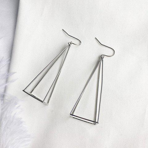 Metal Triangle Geometric Hook Earrings - SILVER