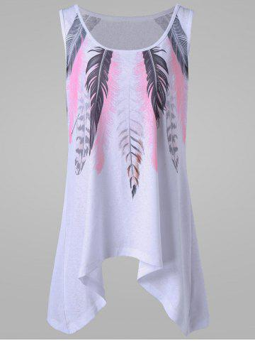Fancy Plus Size Feather Print Tank Top WHITE 2XL
