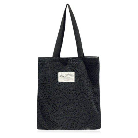 Sale Lace Cover Canvas Shopper Bag - BLACK  Mobile