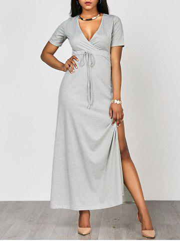 Latest High Waist Split Surplice Maxi Dress With Short Sleeve - M GRAY Mobile
