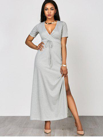New High Waist Split Surplice Maxi Dress With Short Sleeve - S GRAY Mobile