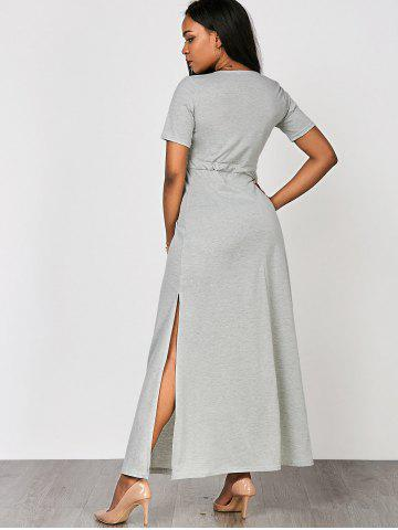 Outfit High Waist Split Surplice Maxi Dress With Short Sleeve - S GRAY Mobile