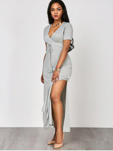 Fashion High Waist Split Surplice Maxi Dress With Short Sleeve - S GRAY Mobile