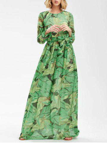 Outfit Tropical Print Floor Length Chiffon Swing Dress - L GREEN Mobile