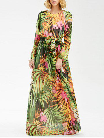 Outfit Tropical Print Floor Length Chiffon Swing Dress - 2XL COLORMIX Mobile