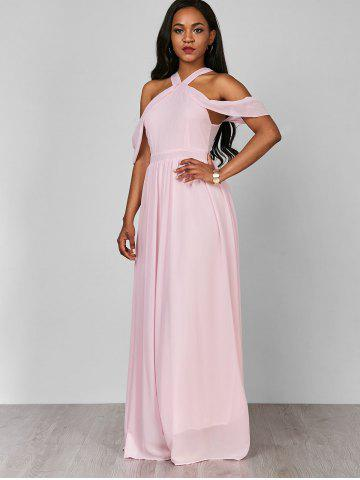 Shop Cold Shoulder Long Chiffon Flounce Formal Maxi Dress - S PINK Mobile