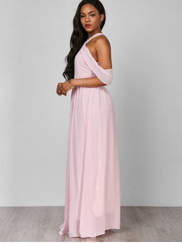 Unique Cold Shoulder Long Chiffon Flounce Formal Maxi Dress - S PINK Mobile