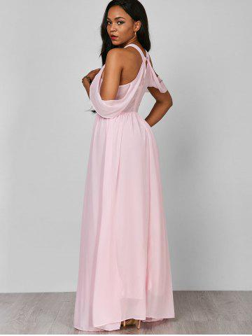 Fashion Cold Shoulder Long Chiffon Flounce Formal Maxi Dress - S PINK Mobile