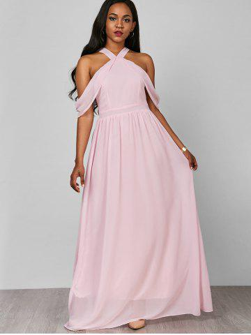 Trendy Cold Shoulder Long Chiffon Flounce Formal Maxi Dress - S PINK Mobile