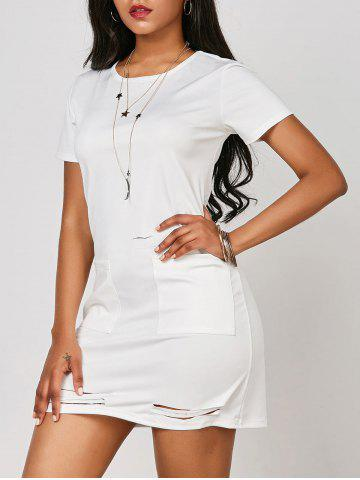 Hot Ripped Pocketed T Shirt Dress - M WHITE Mobile