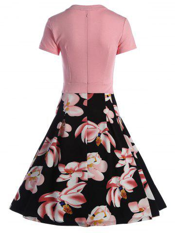 Buy Split Neck Floral Print A Line Dress - L PINK Mobile