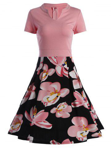 Trendy Split Neck Floral Print A Line Dress - L PINK Mobile