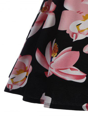 Fashion Split Neck Floral Print A Line Dress - L PINK Mobile