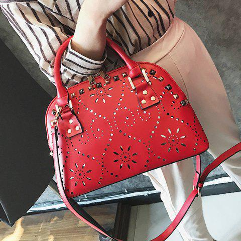 Hollow Out Stud Handbag Rouge