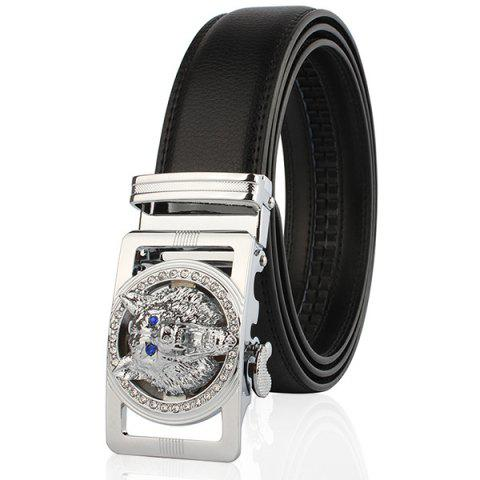 Trendy Rhinestone Alloy Wolf Carving Automatic Buckle Belt SILVER AND BLACK 110CM