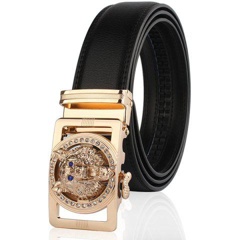 Chic Rhinestone Alloy Wolf Carving Automatic Buckle Belt BLACK AND GOLDEN 110CM
