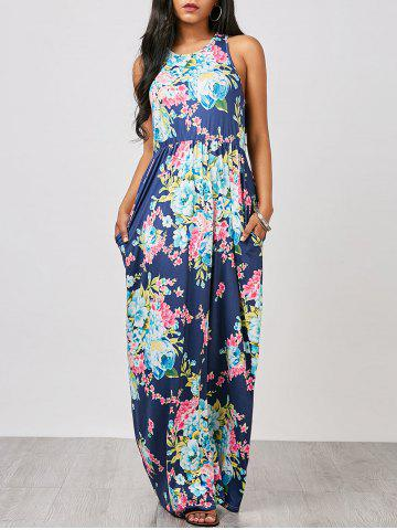 Fancy Floral Racerback Long Maxi Sleeveless Summer Dress