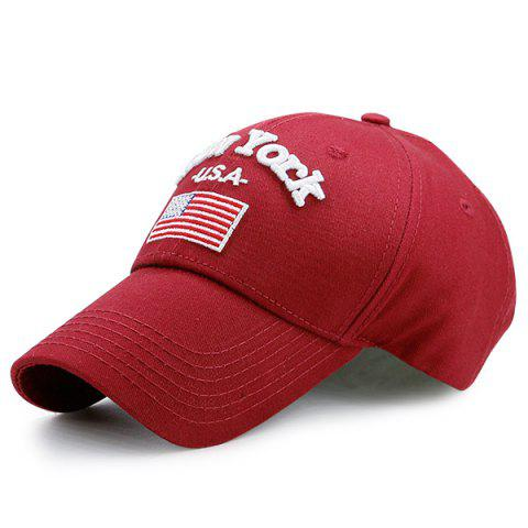 US Flag Letters Embellished Baseball Cap - Purplish Red C5