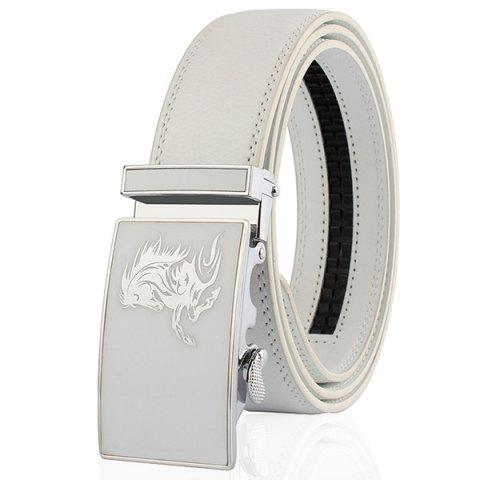 Outfit Automatic Buckle Polished Horse Head Pattern Belt WHITE 110CM