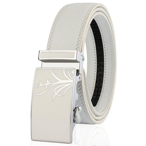 Fashion Polishing Orchid Pattern Auto Buckle Belt WHITE 130CM