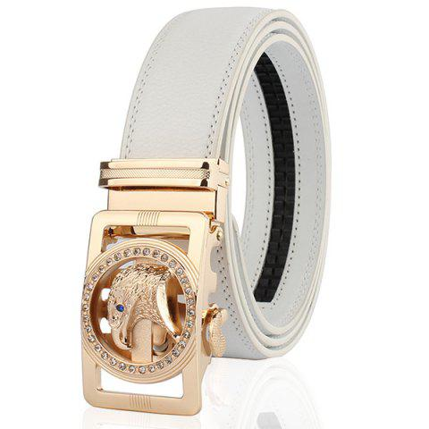 Chic Rhinestone Eagle Head Carving Auto Buckle Belt - WHITE AND GOLDEN 120CM Mobile