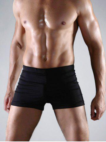 Best Close-Fitting Stretch Swimming Trunks - 3XL BLACK Mobile
