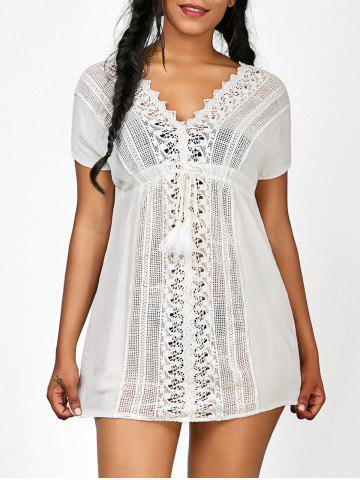 Outfit Crochet Insert Drawstring Beach Tunic Cover-Up WHITE ONE SIZE