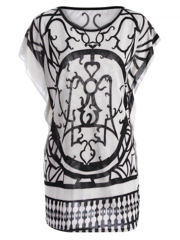 Best Tribal Print Butterfly Sleeve Top WHITE L