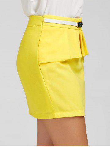 Shops Ruffle Belt Insert Mini Fitted Skirt - L YELLOW Mobile