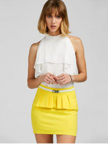 Chic Ruffle Belt Insert Mini Fitted Skirt - L YELLOW Mobile