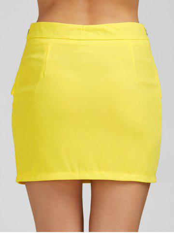 Outfit Ruffle Belt Insert Mini Fitted Skirt - L YELLOW Mobile
