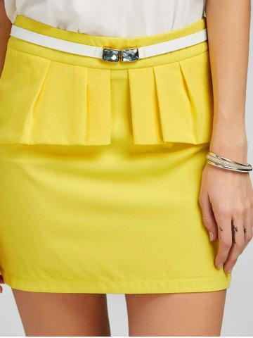 Latest Ruffle Belt Insert Mini Fitted Skirt - L YELLOW Mobile