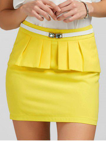 Ruffle Belt Insert Mini Fitted Skirt - Yellow - L