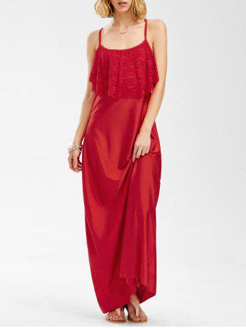 Fashion Spaghetti Strap Lace Trim Backless Floor Length Dress RED S