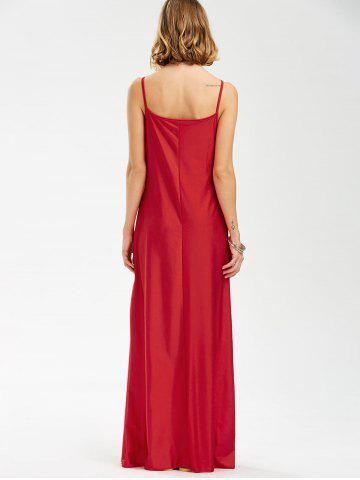 Affordable Long Slip Lace Trim Backless Floor Length Dress - RED L Mobile