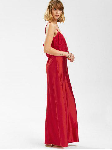 Discount Long Slip Lace Trim Backless Floor Length Dress - RED L Mobile