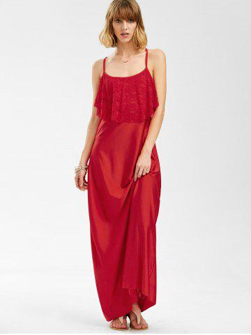 Online Long Slip Lace Trim Backless Floor Length Dress - RED L Mobile
