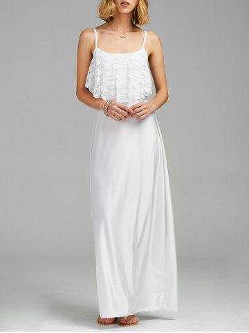 Discount Spaghetti Strap Lace Trim Backless Floor Length Dress WHITE M