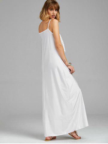 Fashion Long Slip Lace Trim Backless Floor Length Dress - WHITE M Mobile