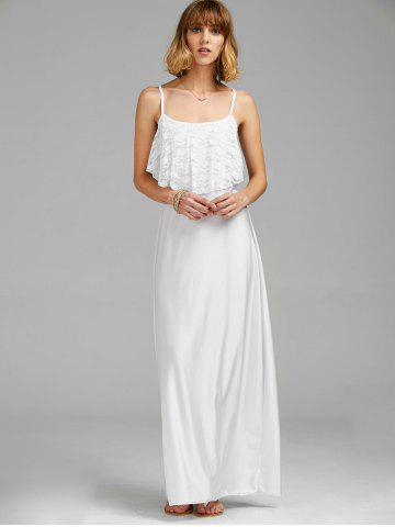Affordable Long Slip Lace Trim Backless Floor Length Dress - WHITE M Mobile