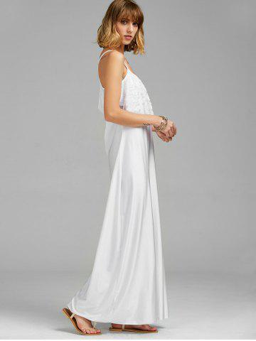 Fashion Long Slip Lace Trim Backless Floor Length Dress - WHITE L Mobile
