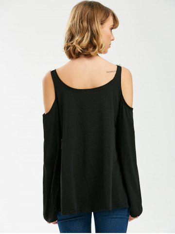 Latest Crochet Trim Cold Shoulder Long Sleeve Top - XL BLACK Mobile