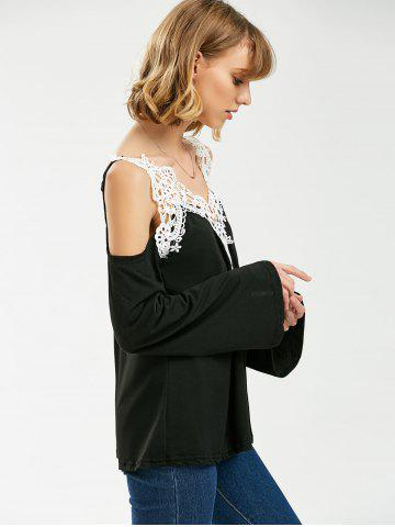 Online Crochet Trim Cold Shoulder Long Sleeve Top - XL BLACK Mobile