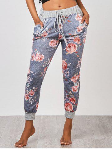 Outfits Ankle Length Floral Jogger Pants - S GRAY Mobile