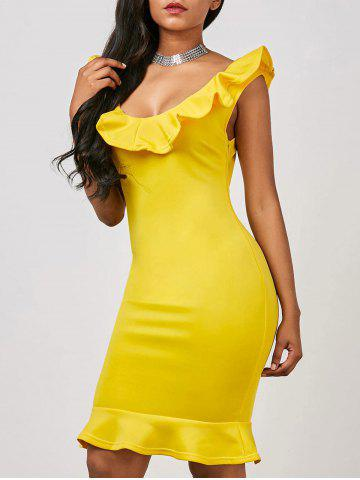 Online Flounce Fishtail Short Formal Party Dress YELLOW S