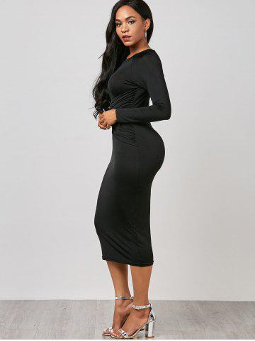 New Keyhole Midi Ruched Long Sleeve Bodycon Dress - M BLACK Mobile