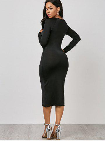 Store Keyhole Midi Ruched Long Sleeve Bodycon Dress - M BLACK Mobile